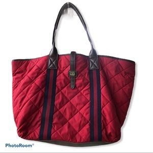 TOMMY HILFIGER red quilted tote